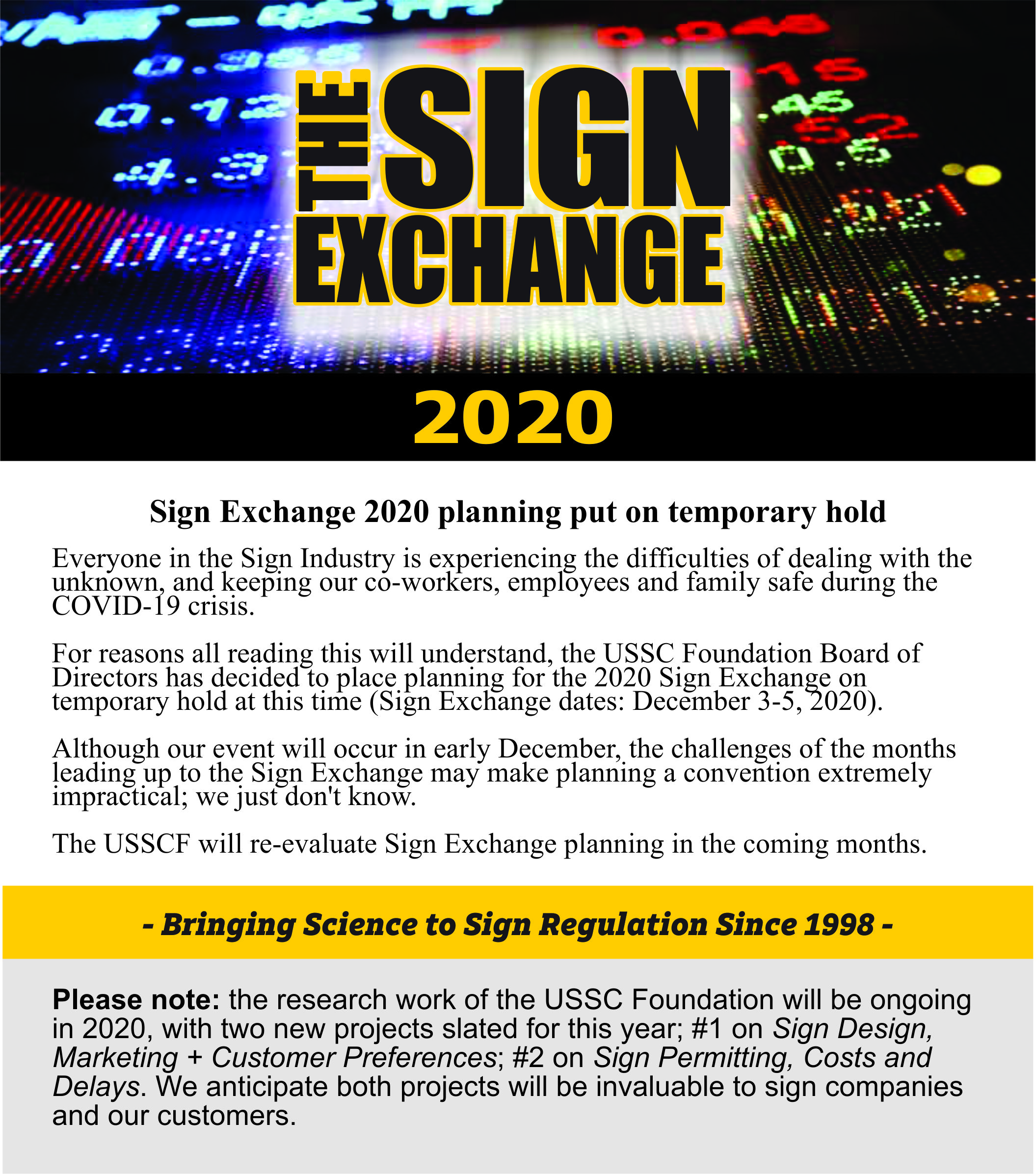 Sign Exchange 2020 Message April 2020
